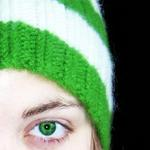 Girl with Knitted Green Beanie Hat