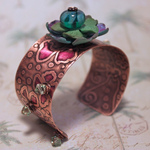 Petula Handmade Mixed Media Copper Cuff Jewelry
