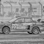 black and white rally car