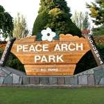 Dogwood Emblem on Park Sign, Peace Arch Park