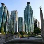 Skyscrapers overlooking Coal Harbour, Vancouver, BC