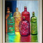 Painting of colored bottles