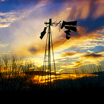 Texas Windmill at Sunset