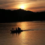 Sundown on Paintsville Lake: Fishermen Coming Into Shore