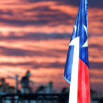 Texas Flag with Sunset