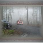 Vintage Fire Truck Emerging Through the Fog
